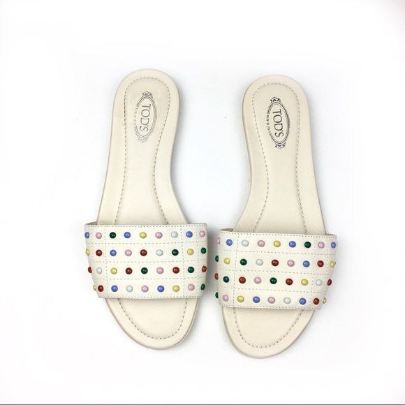 d34598ff3 Tods Studded Slides in multicolor   White